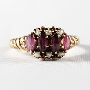 ANTIQUE VICTORIA 10K Gold Seed Pearl Garnet Ring